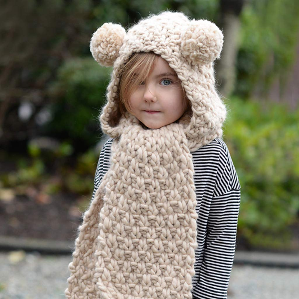 Hood Scarf Beanies Kids - Girls Winter Hats Ear Flaps Knit Cap Snow Neck Warmer by Liny (Image #3)