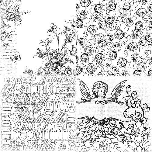 Prima 811358 Paintable Watercolor Paper, 4up Cherub, 6 by (Prima Paintables Paper)