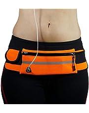 Riñonera Deportiva Impermeable Bolsa de Cintura de Mujer y Hombre Teléfono Antirrobo Bolsa de Cintura con Auriculares Agujero para Correr al Aire Libre