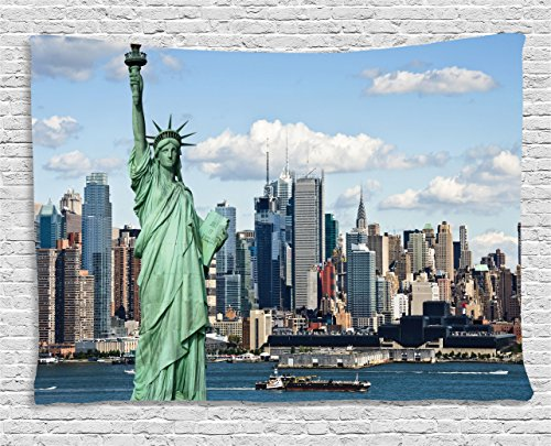 Ambesonne New York Tapestry, Liberty in NYC Harbor Urban City Print Famous Cultural Landmark Picture, Wide Wall Hanging for Bedroom Living Room Dorm, 80