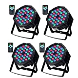 Disco DJ Party Lights, SOLMORE DMX-512 RGB 36 LED Par Stage Disco Lights Party Lights Projector Light Sound Activated Background by IR Remote for Wedding KTV Show Club Bar Decor 36W (4Pcs)