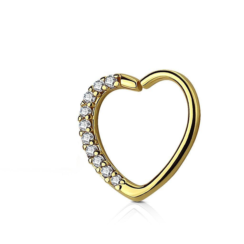 Lined CZ Set Heart 16 Gauge Ear WildKlass Cartilage/Daith Hoop Rings
