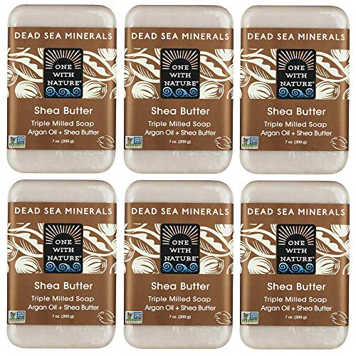 (One With Nature Shea Butter Dead Sea Mineral Soap, 7 Ounce Bars (Pack of 6))