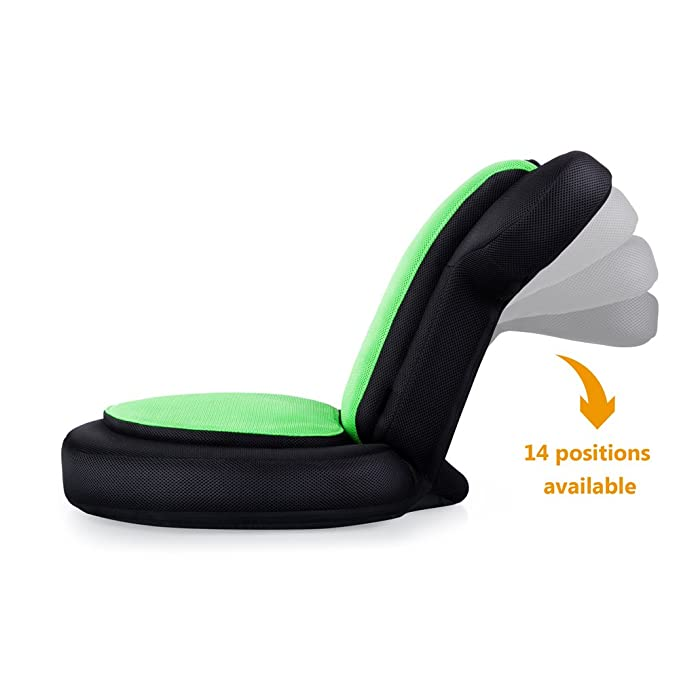 Amazon.com: JSVER Armrest Video Gaming Chair Floor for Child and Adult with 14 Positions for Home Video Gaming and Reading, Black & Green: Kitchen & Dining