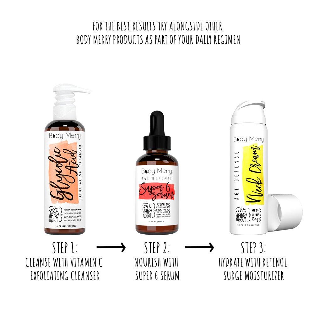 Cuerpo feliz cuello Firming Cream - mejor Daily Moisturizer para arrugas y piel flácida - Tornillo y Alisa - en el pecho con Vitamina C + Glycolic Acid + ...