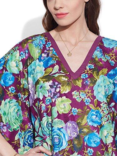 Dames Plage Couvrir Caftan Longue Robe Caftan Coton Imprimé Prune Maxi Chemise De Nuit