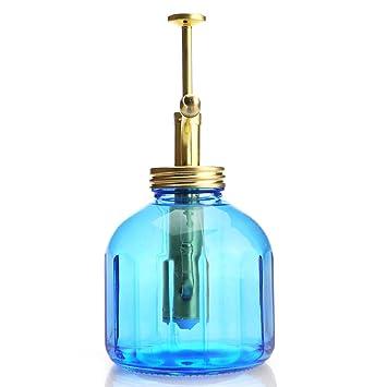 Purismo Estilo Planta Señor - Botella de vidrio de color azul y rociador de latón (
