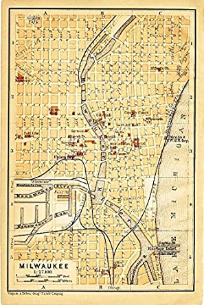 Amazoncom Milwaukee Wisconsin 1904 Color Lithograph Us City Street - Wisconsin-on-map-of-us