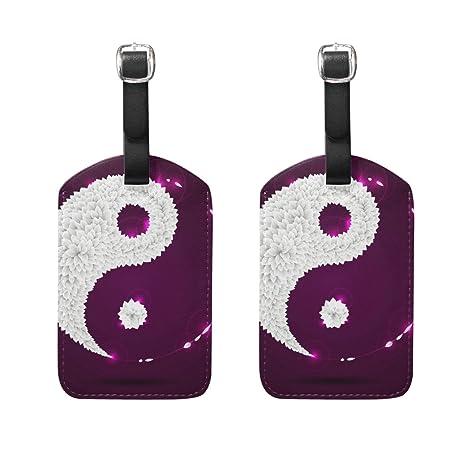 COOSUN Hojas púrpuras titular de Yin Yang Etiquetas de equipaje de viaje etiquetas de la etiqueta