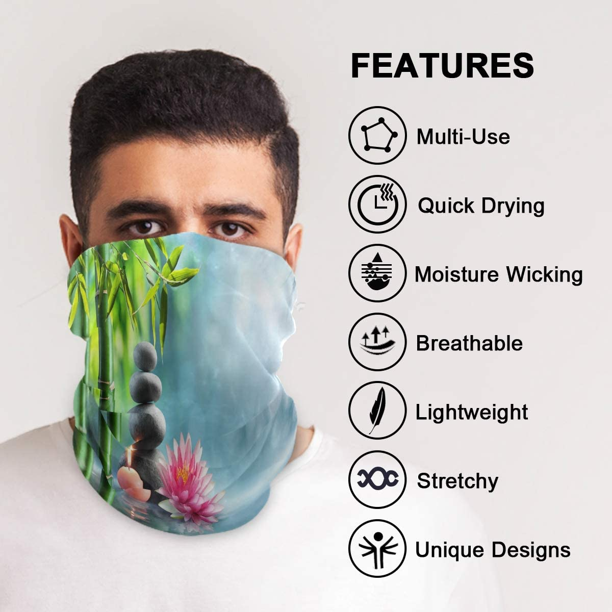 Blueangle Water Lilies Face Mask Anti Droplet Multifunction Magic Scarf Motorcycle Outdoor Sport Seamless Colorful Wrap Headband Scarf 61I-D7tgWbL