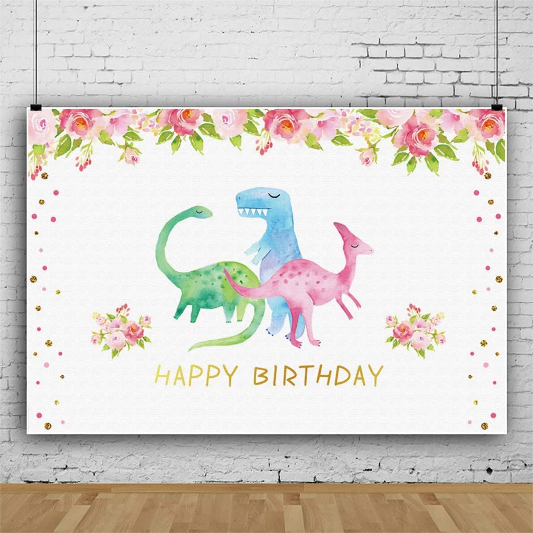 Haoyiyi 10x8ft Happy Birthday Background Watercolor Hand Painting Flowers Floral Dinosaurs Backdrop Photography Photo Child Kids Activity Party Baby Shower Decorated Pictures Photocall