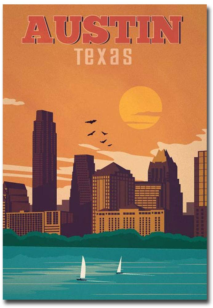 "Austin Texas Travel Vintage Art Refrigerator Magnet Size 2.5"" x 3.5"""