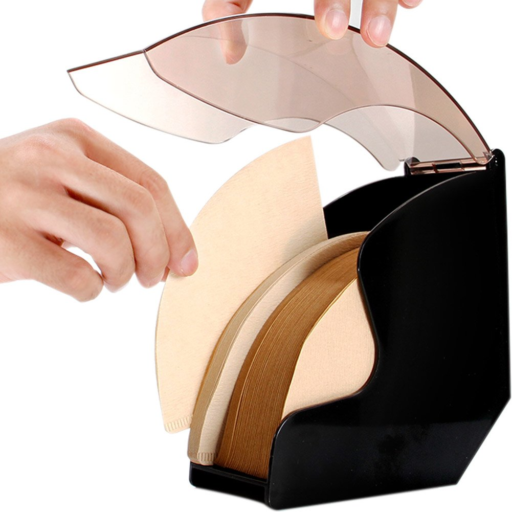 WINGOFFLY Coffee Filter Paper Holder with Cover Acrylic Coffee Filters Dispenser Rack Shelf Storage
