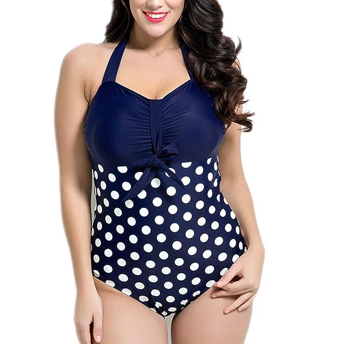 Missyhot Retro de Una Pieza Monokini Tankini Bikini vintage Traje de Baño para Gorditas de Lunares