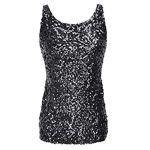 8c29f80c66df33 ACSUSS Fashion Womens Shiny Glitter Sequins Embellished Sleeveless Vest Tank  Tops Black One Size