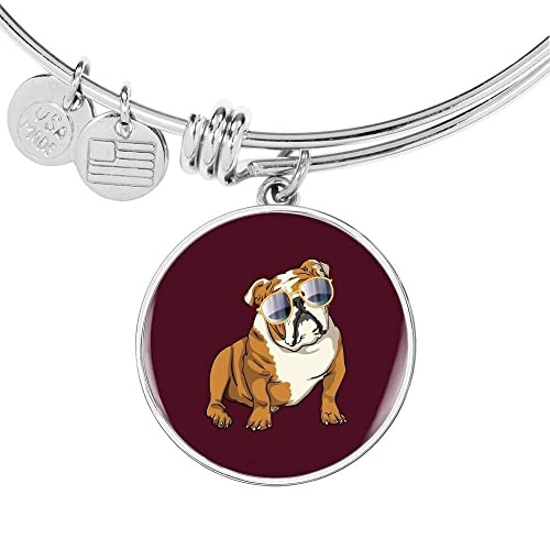 for Cute Dog Lovers Weezag Bulldog Pendant Necklace Bangle