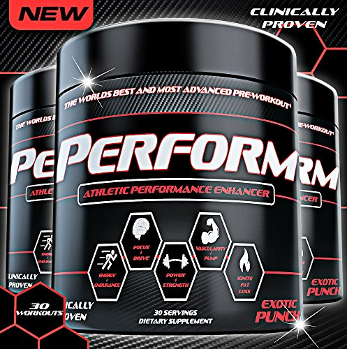 PERFORM Best Pre Workout Supplement for Energy, Strength, Pump, Endurance, Focus, Power, Drive & Performance. #1 Sports Nutrition and Bodybuilding Pre-Workout Supplement!