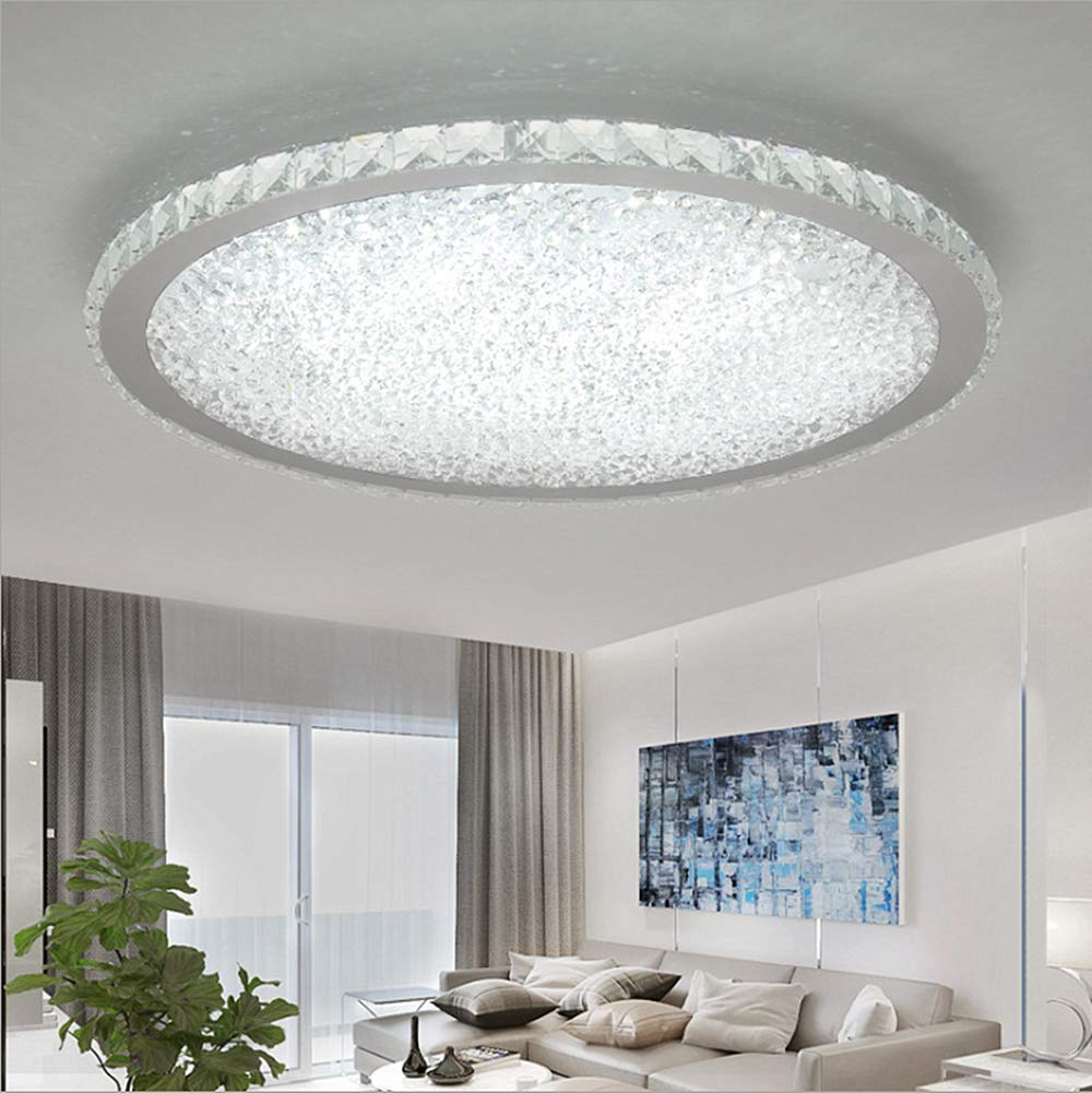 Ladiqi Crystal Round LED Flush Mount Ceiling Light Luxury Modern Close to Ceiling Light Indoor Chandelier Lighting Fixture for Living Room Bedroom Dining Room Restaurant (White, 16'')