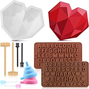 Diamond Heart Mousse Cake Mold Trays, Love Shape Silicone Cake Mold, 3D Baking Pan with 2Pcs Hammers Letter Number Mold Trays Dropper for Chocolate Candy Valentine's Day Cake Making