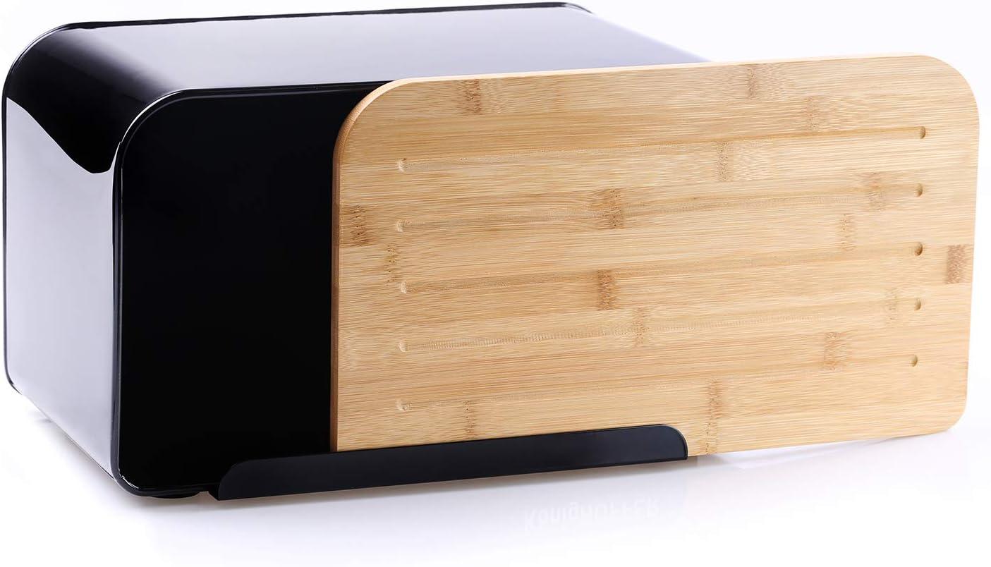 DecoKing 51481 Panera Acero al Carbono Tapa de Bamb/ú Tabla de Cortar de Gran Calidad Negro Rio