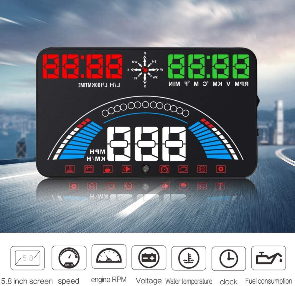 Gorgeri S7 5 8in Universal Obd2 Gps Hud Auto Head Up Display Projektor Geschwindigkeit Kraftstoffverbrauch Anzeige Fahralarm Fahrleistung Auto