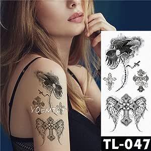 tzxdbh 3Pcs-Tattoo Sticker Dark Rose Flower Brazo Hombro Tatuaje ...