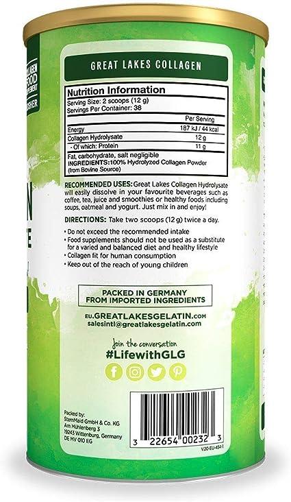 Hidrolizado de colágeno, suplemento de proteína en polvo de péptidos de colágeno hidrolizado bovino alimentado con pasto, sin sabor, lata de 454 g