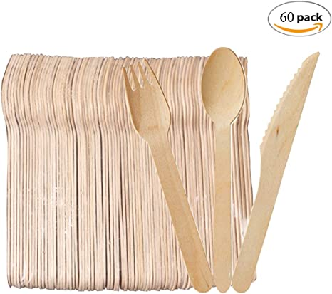 Mengger Cubiertos madera desechables vajilla biodegradables Juego Suministros Cocina Para Fiestas Camping Picnic Barbacoa (60 Tenedores Cuchillos ...