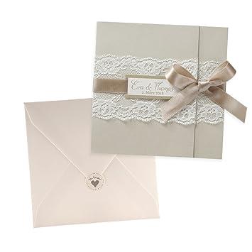 Schön Einladungskarten Naomi Für Die Hochzeit Mit Spitze, Creme , 3 Stück Blanko  Hochzeitseinladungskarten Mit Passendem