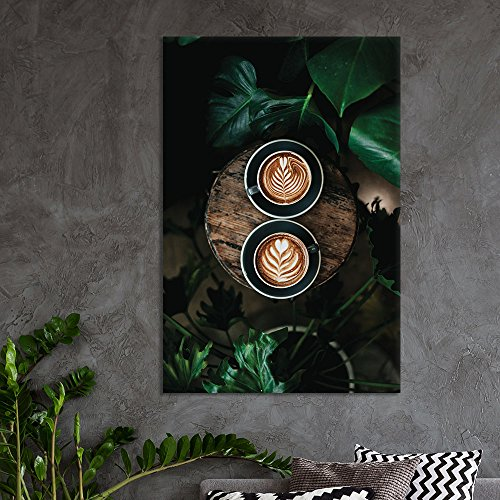Two Cups of Coffee and Tropical Leaves Gallery