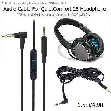 Cable de Audio de Auriculares de 1,5 m con micrófono Macho de 2,5 ...