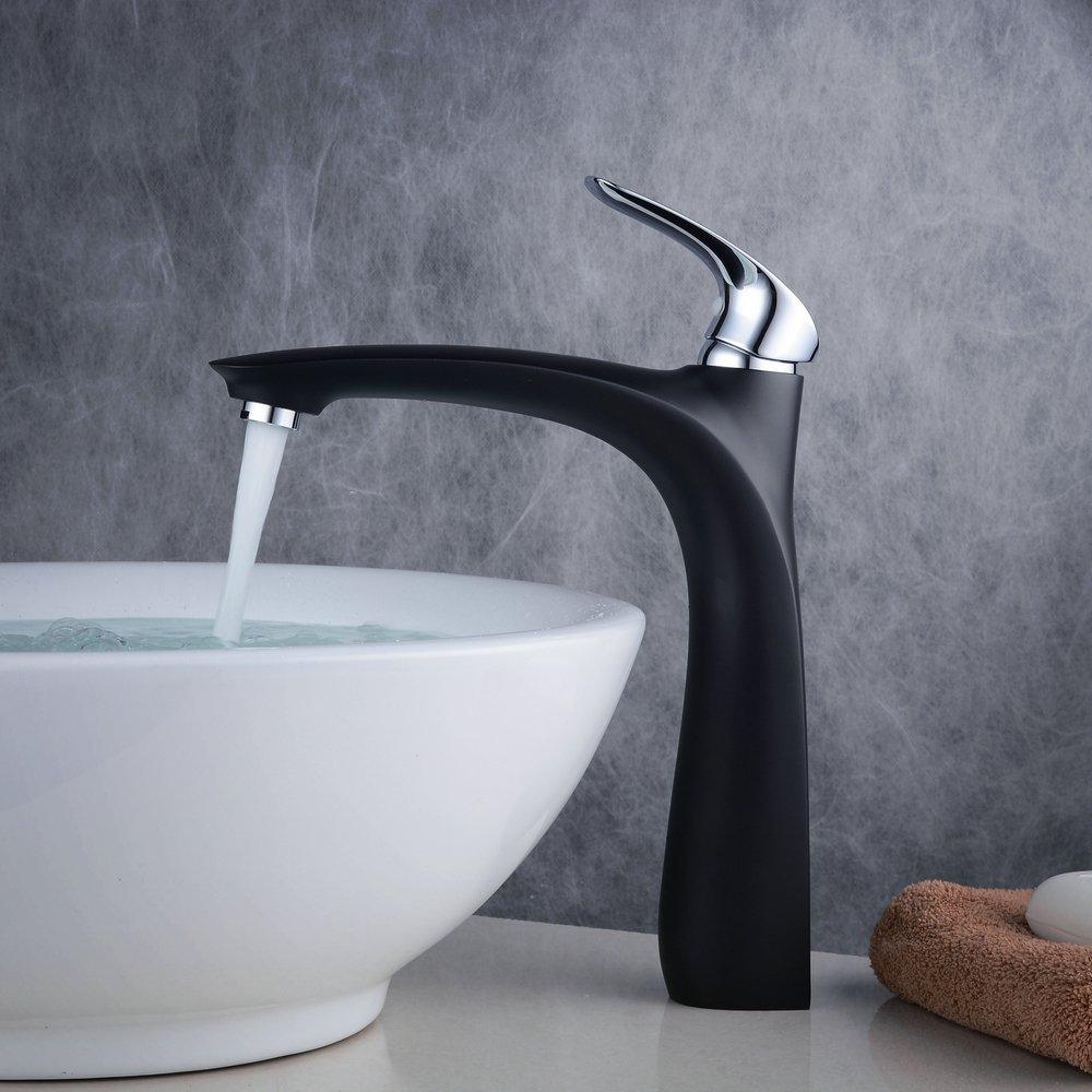 Beelee Single Hole Vessel Bathroom Faucet,Black
