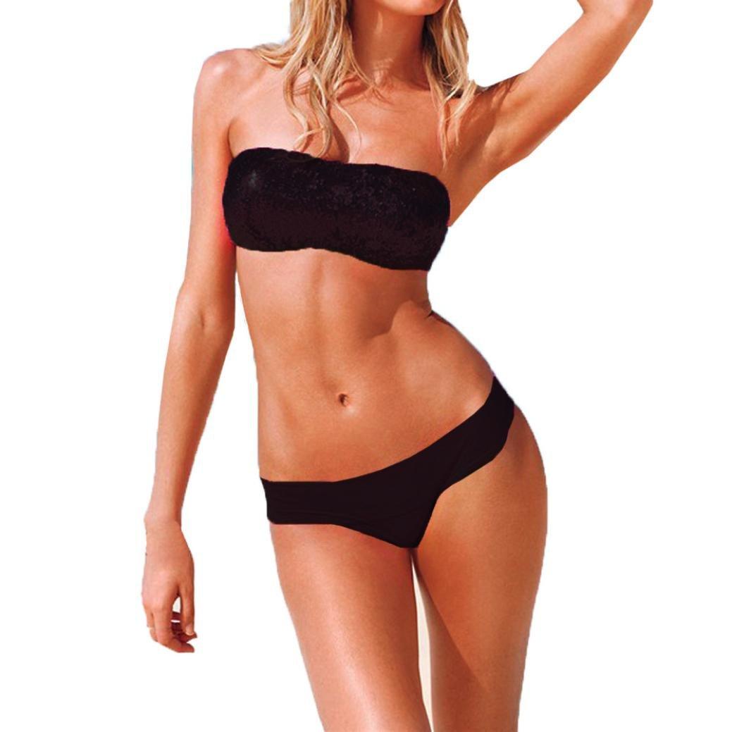 SHOBDW Neueste 1 Satz Sexy Halter Badeanzug Bandage Badeanzug Bling Pailletten Bademode Bikini