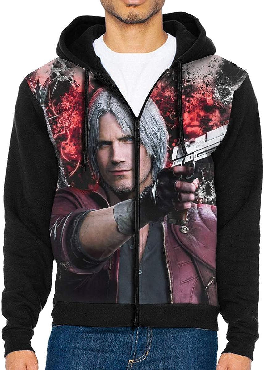 Devil-Dante-4K Mens Jacket Printed Hoodie Sweatshirt Full Zip Casual Hat Pocket Pullover Sweater