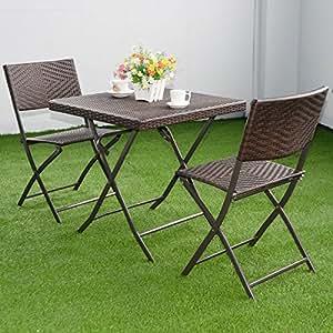 wakrays [nos Stock] 3pc al aire libre mesa plegable silla juego de muebles de ratán mimbre Bistro Patio