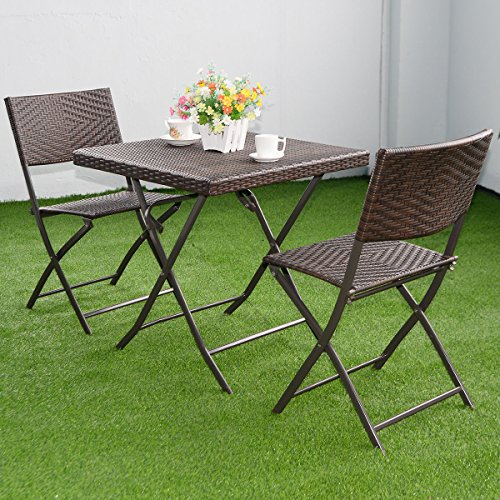 3 Pc Outdoor Folding Table Chair Furniture Set Rattan Wicker Bistro Patio Brown Home Patio