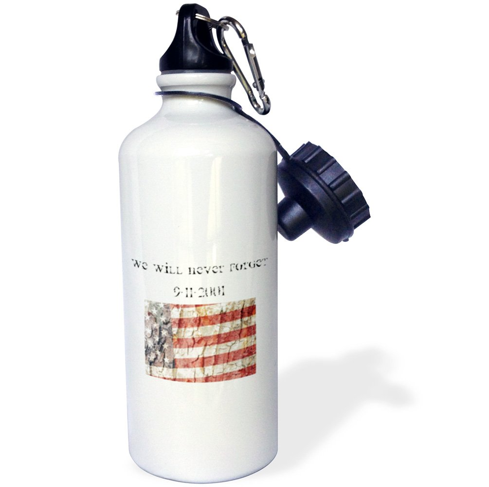 3dRose wb/_28062/_1American Flag We Will Never Forget Sports Water Bottle White 21 oz