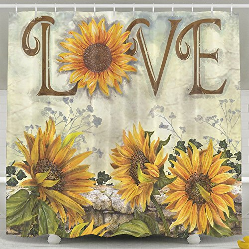 HDMEI Retro Sunflower Shower Curtain Curtain for Bathroom,with Hooks,66x72