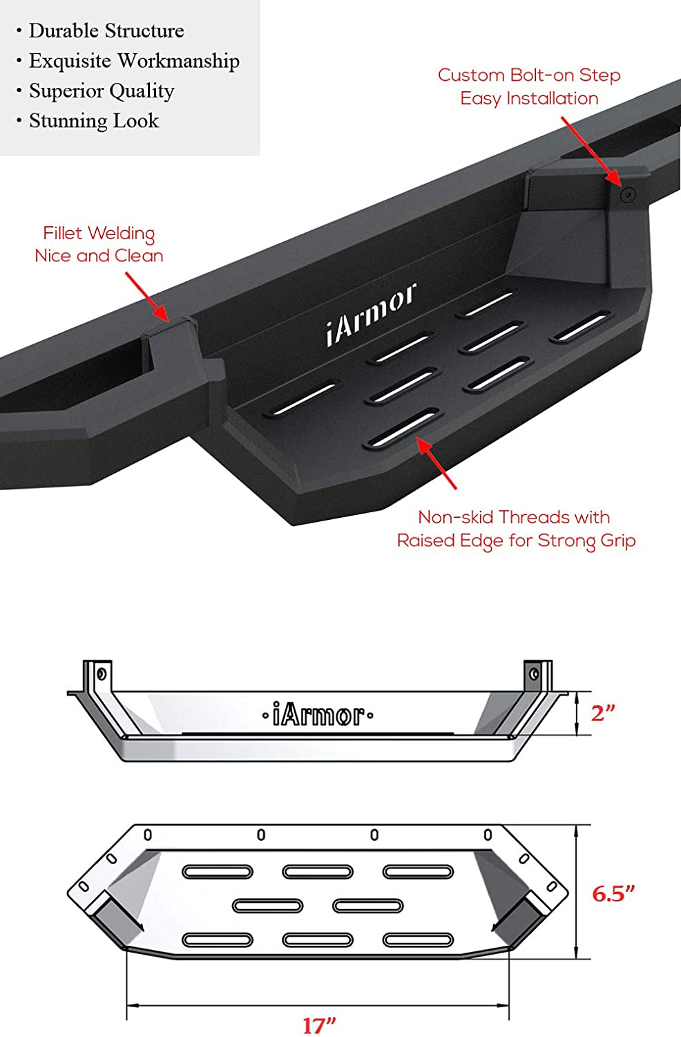 APS Aluminum Drop Steps Running Boards for Selected Toyota Tacoma Double Cab Crew Cab Side Armor Drop Step