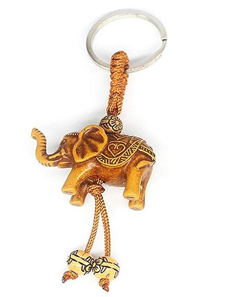 Sliwei Imitación de madera Elefante Colgante Llavero Llavero ...