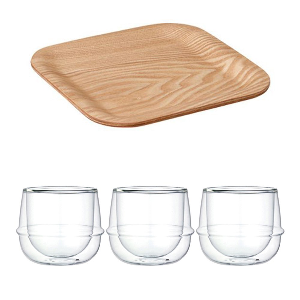 KINTO 6.3 inch Nonslip Square Willow Tray and Three KRONOS Double Wall Glass Wine Glass, Set of 4