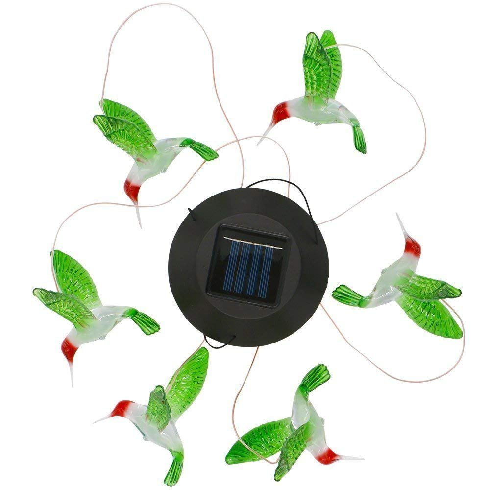 MEIO Color-Changing LED Solar Mobile Wind Chime LED Changing Light Color Waterproof Six Hummingbird Wind Chimes For Home Party Night Garden Decoration