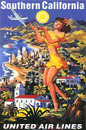(American Gift Services - Southern California United Airlines Travel Poster - 24x36)