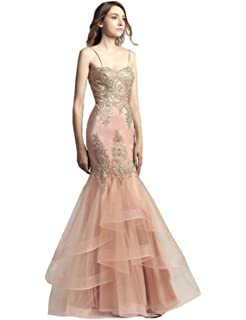 Belle House Womens Long Mermaid Evening Gowns Sexy Prom Dresses 2018 Gold Lace Appliqued Party Ball