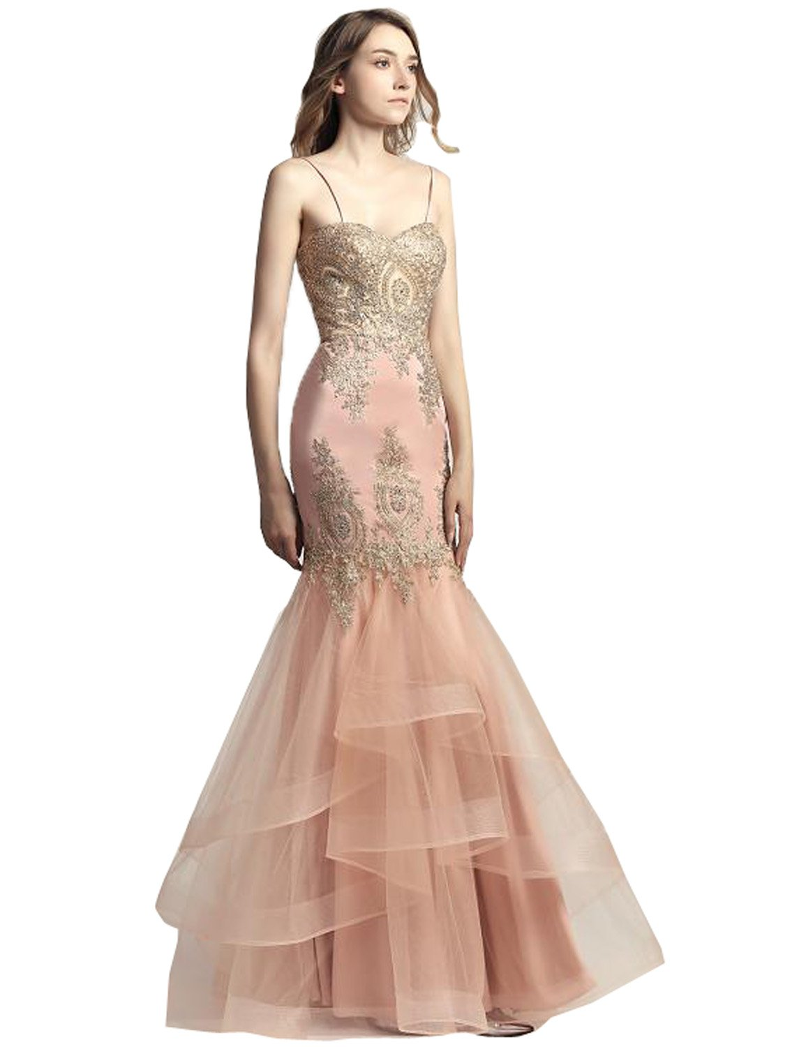 Belle House Women's Blush Long Prom Dresses 2018 For Women Sexy Evening Dress Ball Gown With Gold Lace Applique