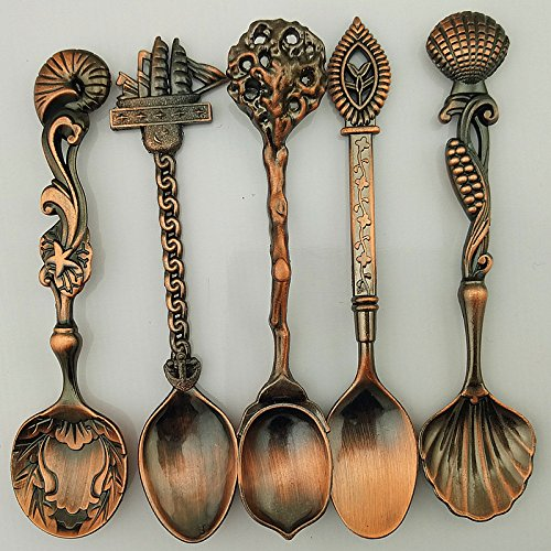 5 Pcs/Set Bronze Carved Mini Coffee Spoon Kitchen Dining Bar Vintage Royal Style Flatware Cutlery Set Dessert Snacks Ice Cream