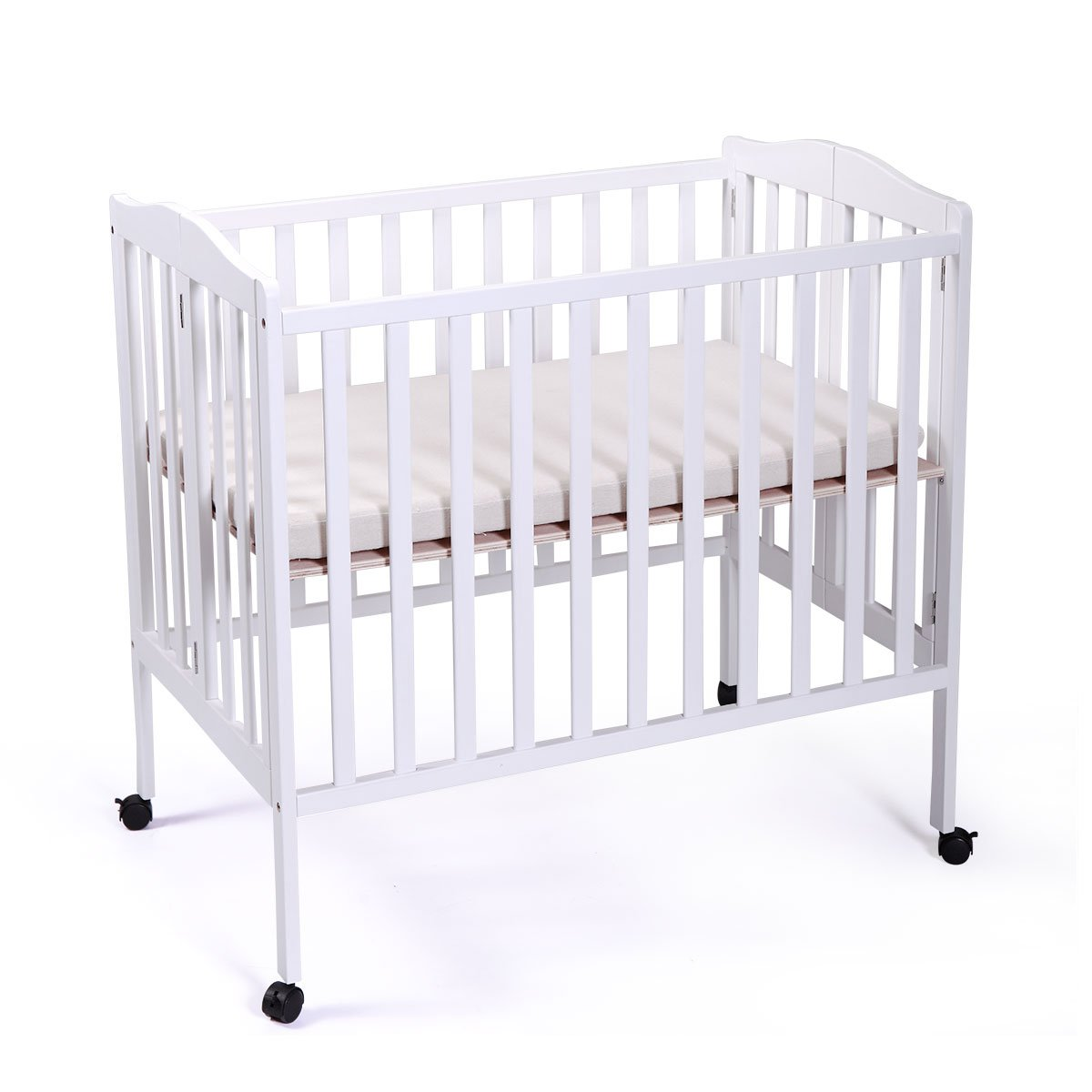 LAZYMOON Portable Pine Wood Baby Crib Toddler Bed Nursery Furniture Safety White
