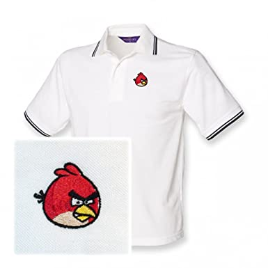 Kids Red Angry Bird Logo Polo Shirt White With Navy 3 4 Years