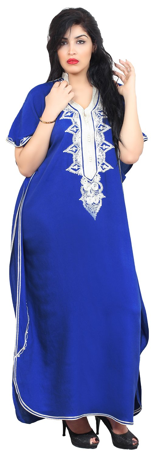 Moroccan Caftan Hand Made Top Quality Breathable Cotton with Hand Embroidery Long Length Blue
