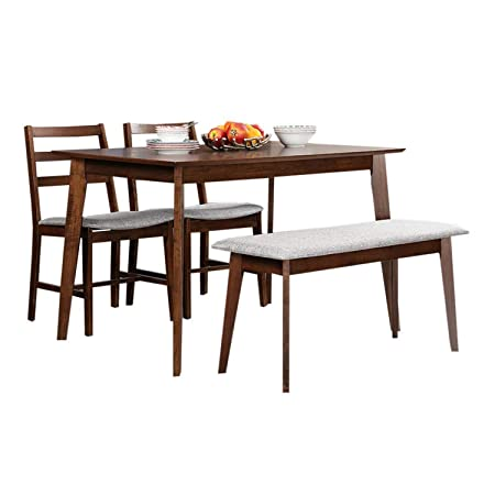 Hometown Allen 4 Seater Dining Table Set with Bench (Light Walnut)